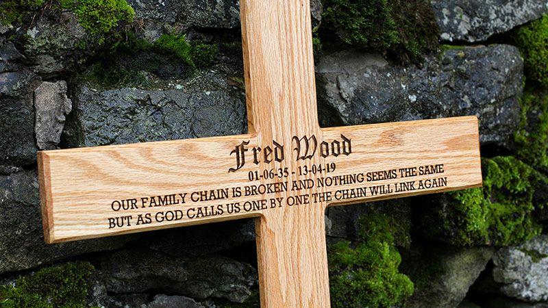 Engraved Gravestone Cross