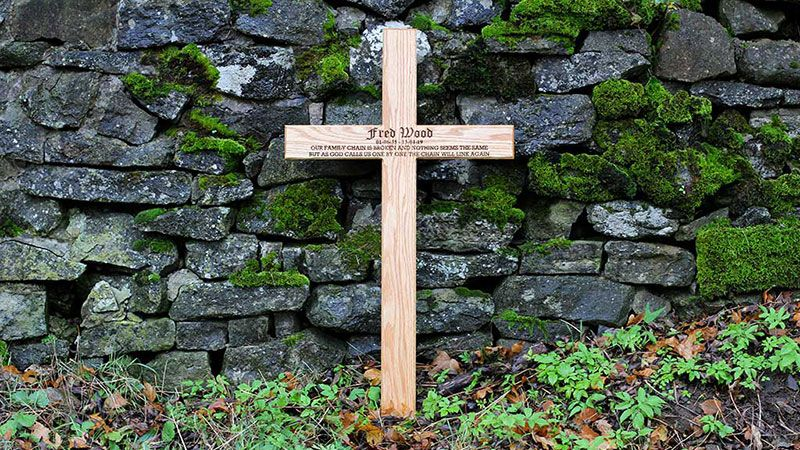 Engraved Wooden Gravestone Cross