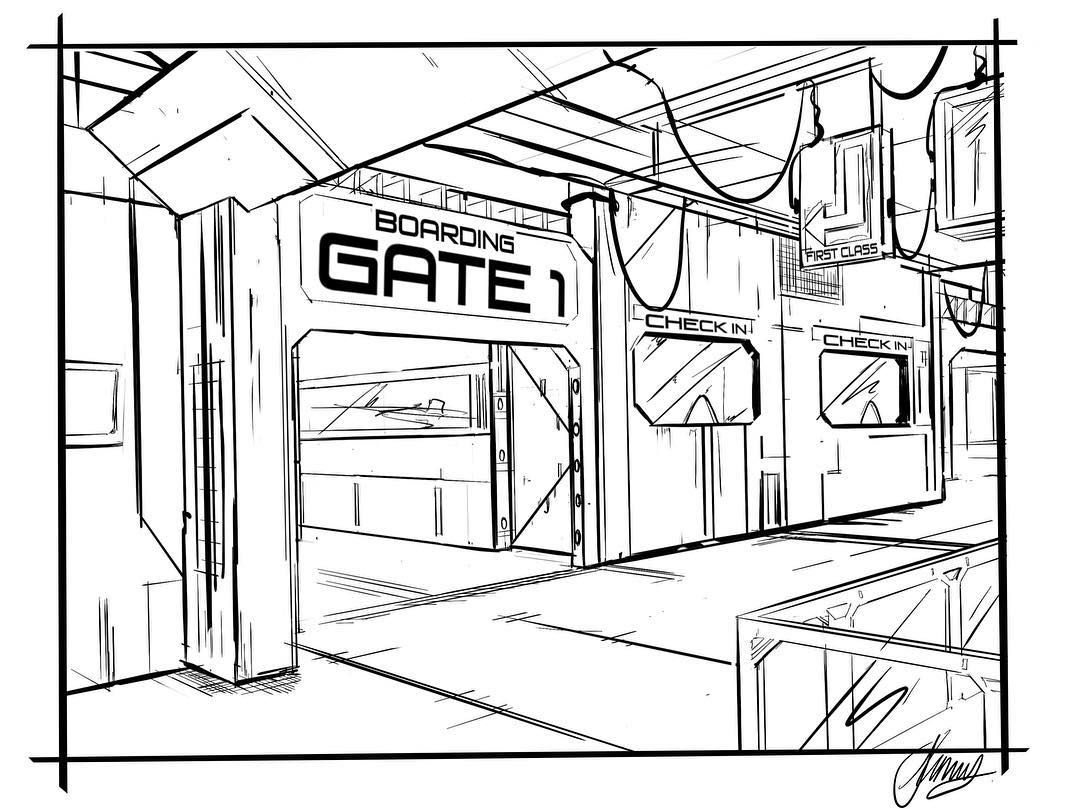 Sci Fi Boarding Gate Sketch