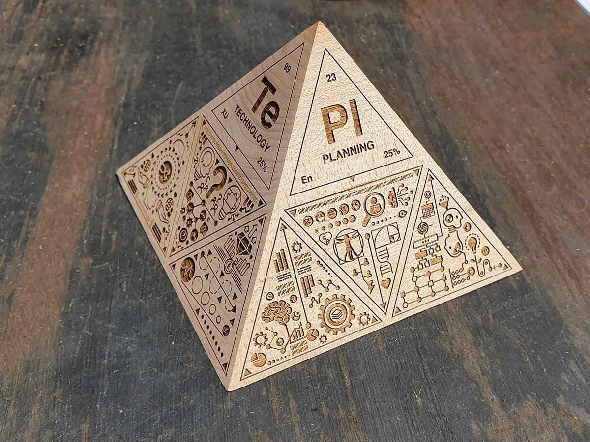 Laser Engraved Wooden  Pyramid
