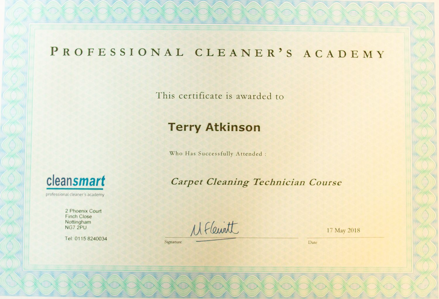 Technicians certificate carpet cleaning