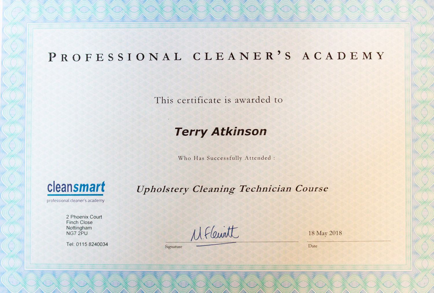 Professional upholstery cleaning qualification