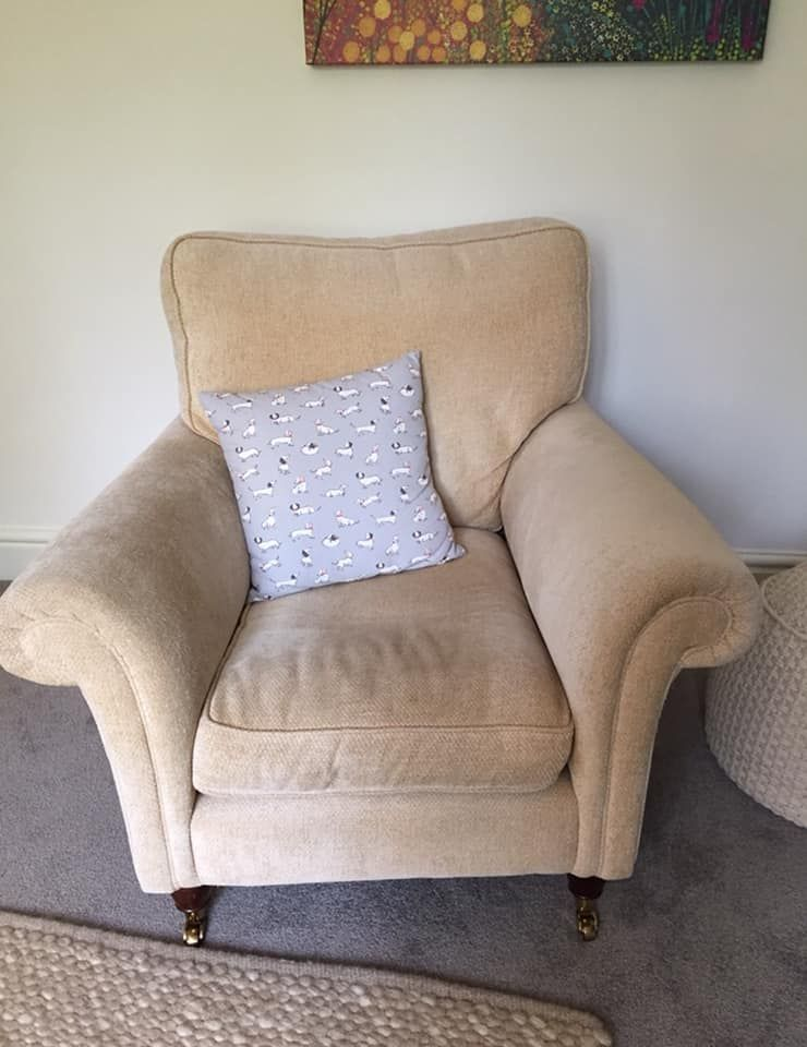 before cleaning of Laura Ashley armchair