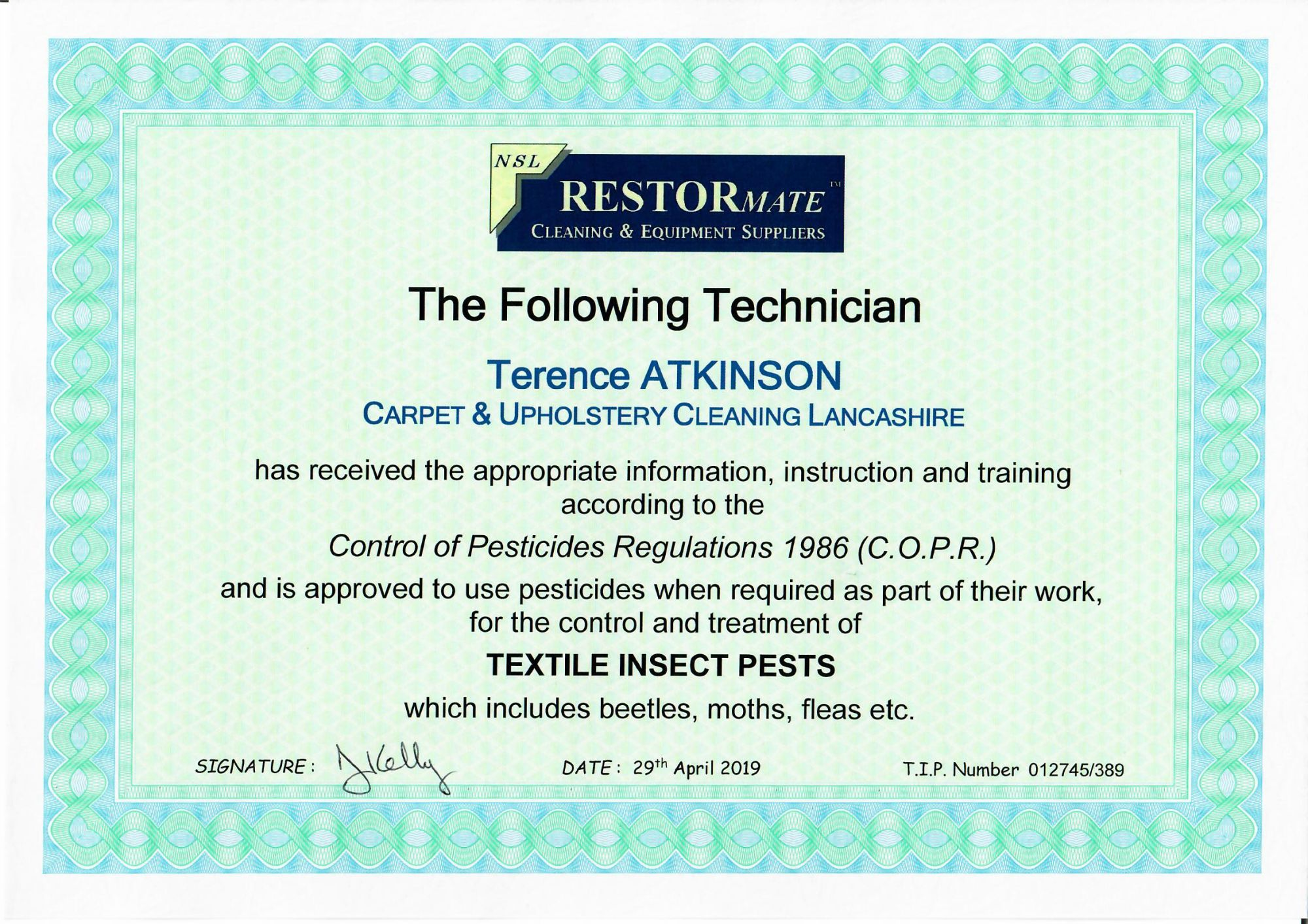 Textile Pest certification Carpet & Upholstery Cleaning Lancashire