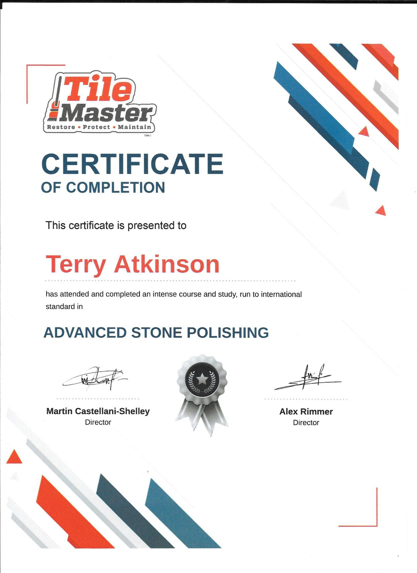 Tilemaster advanced polishing technican certification Carpet & Upholstery Cleaning Lancashire