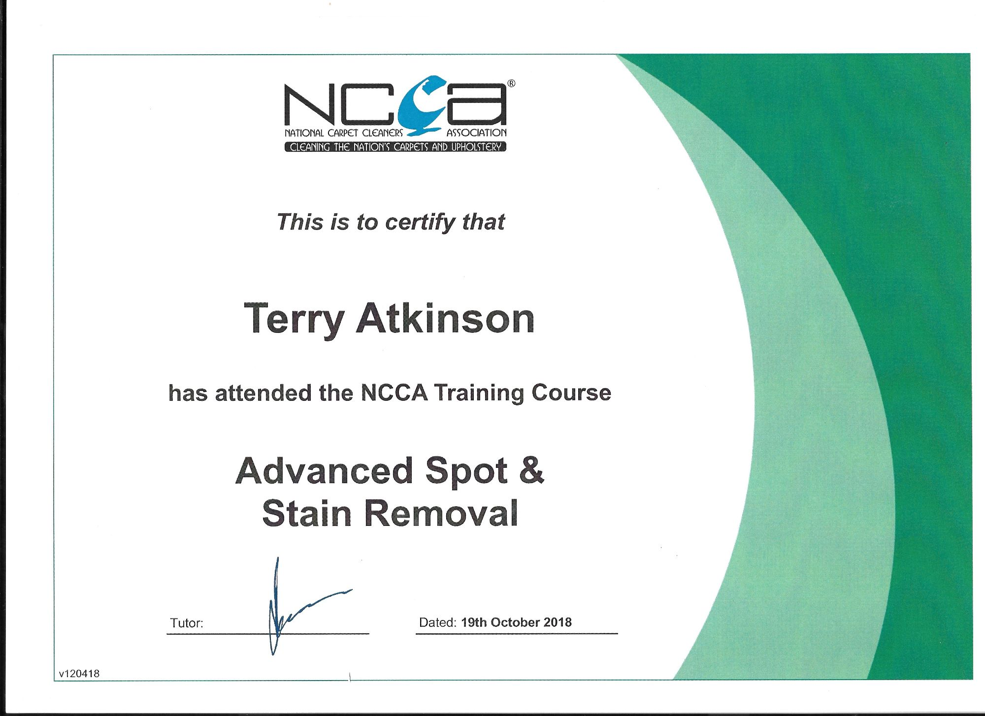 spot & stain cleaning course certificate