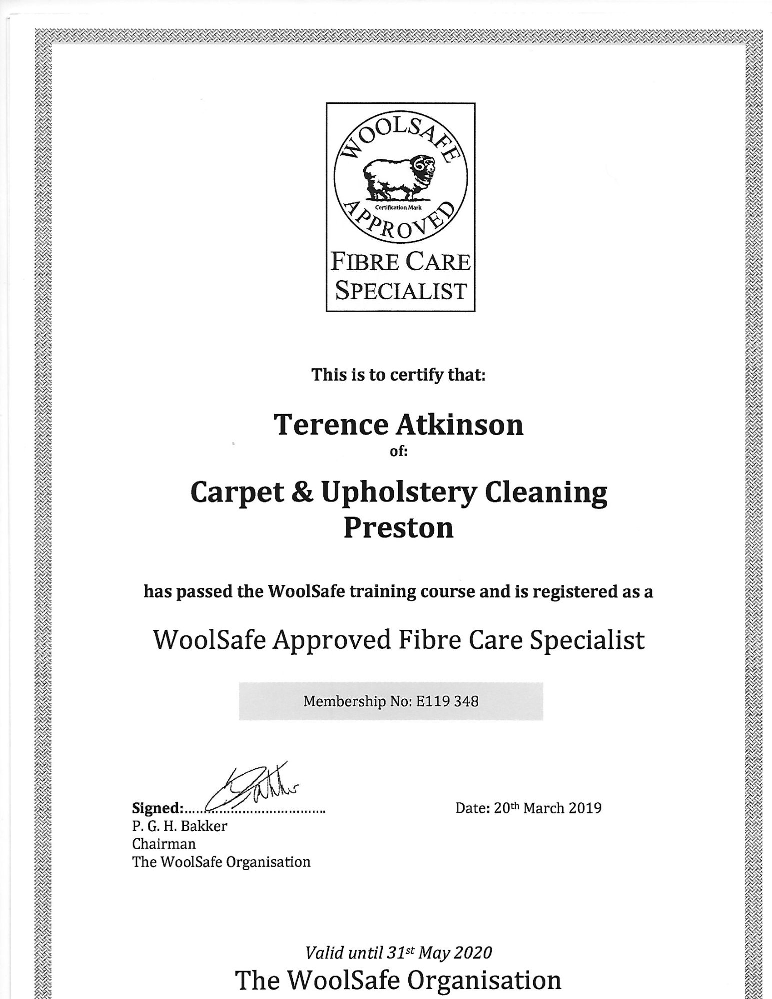 Woolsafe approved fibre care certificate Carpet & Upholstery Cleaning Lancashire