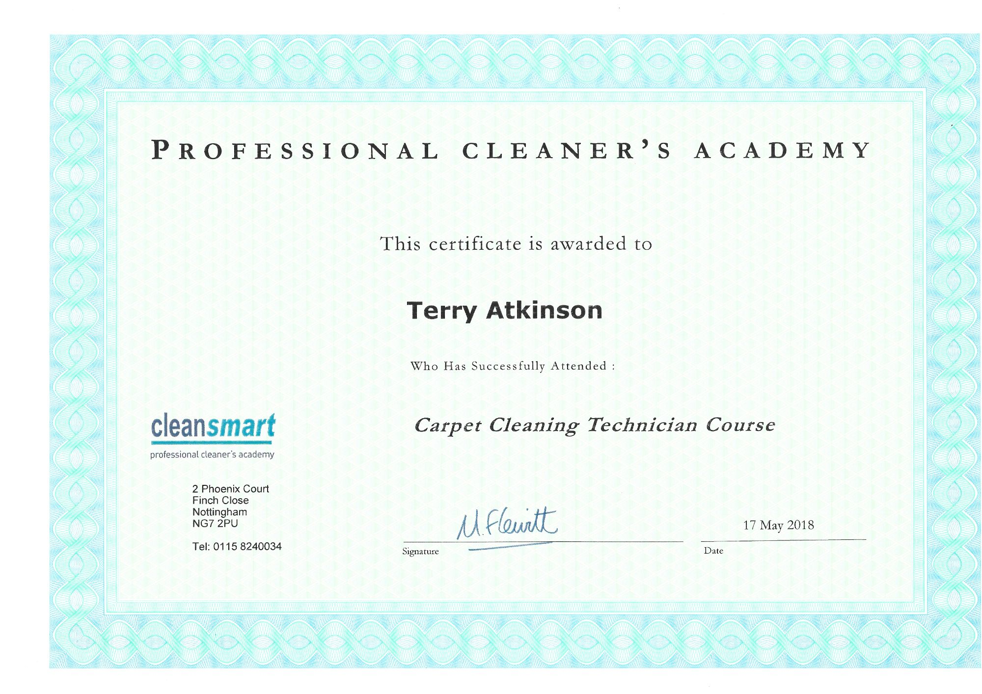 Carpet Cleaning Technician certoficate Carpet & Upholstery Cleaning Lancashire