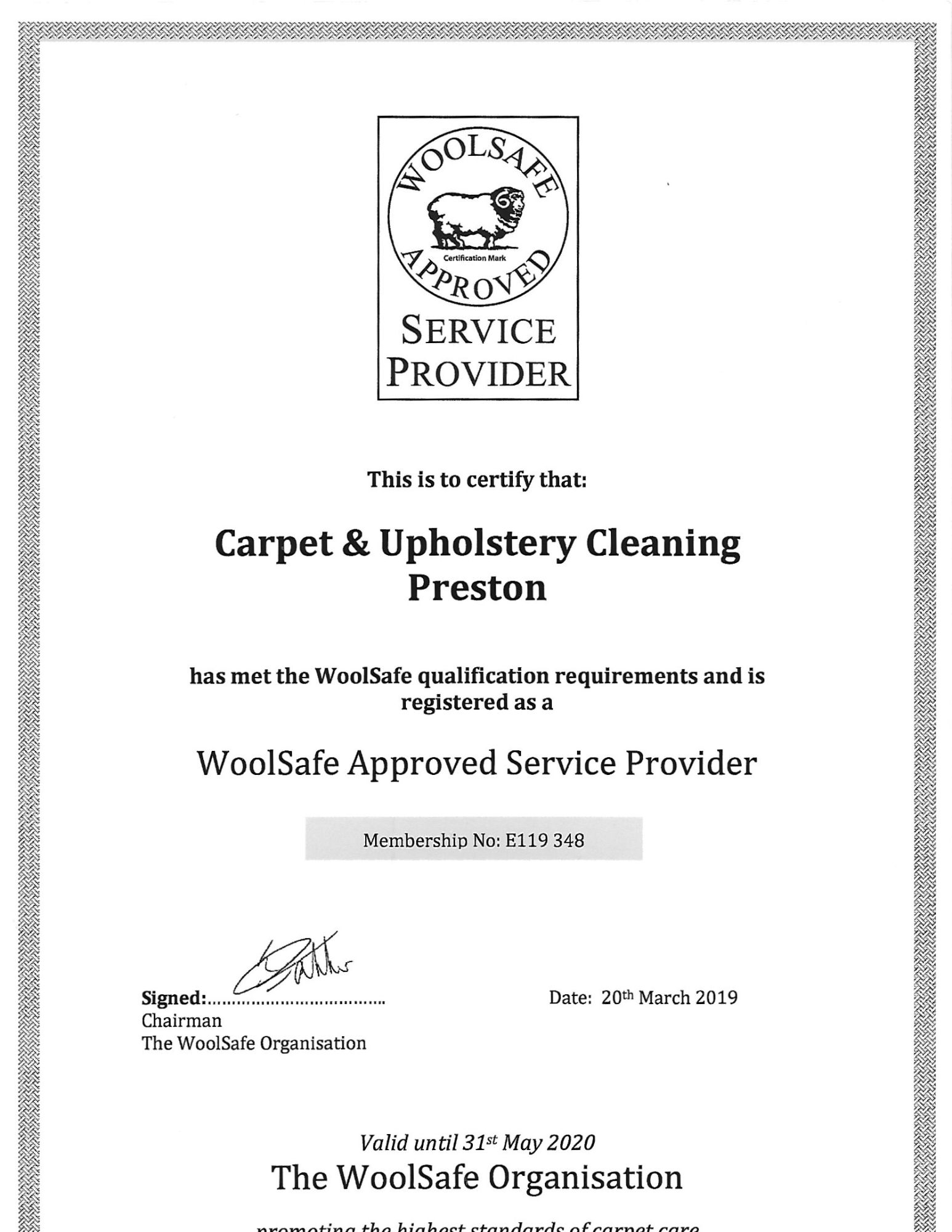 Woolsafe Service Provider certification Carpet & Upholstery Cleaning Lancashire