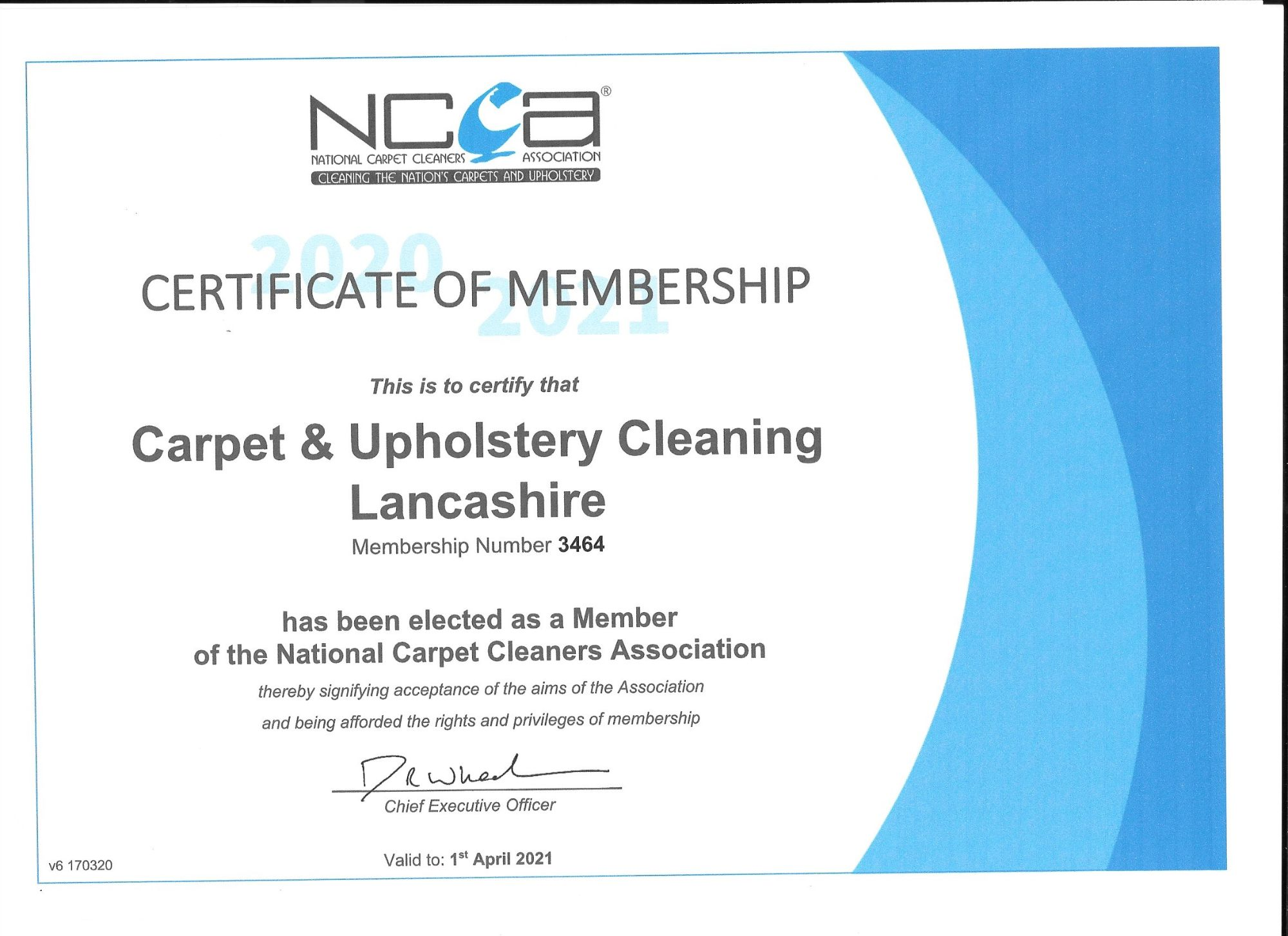 2020-2021 NCCA menbership certificate for  Industry Qualifications| Carpet & Upholstery Cleaning Lancashire