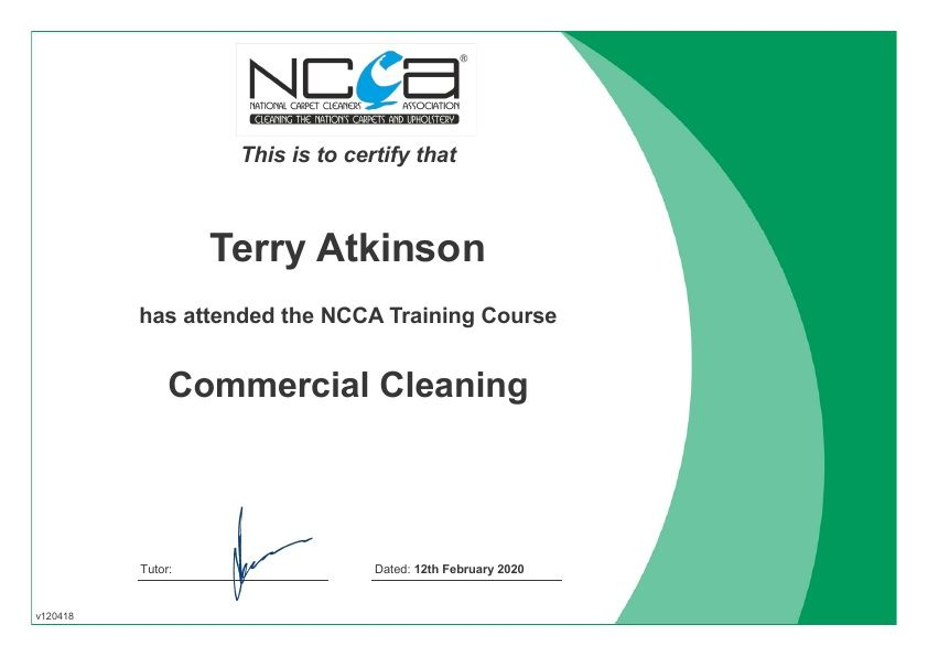 NCCA training cerificate Carpet & Upholstery Cleaning Lancashire
