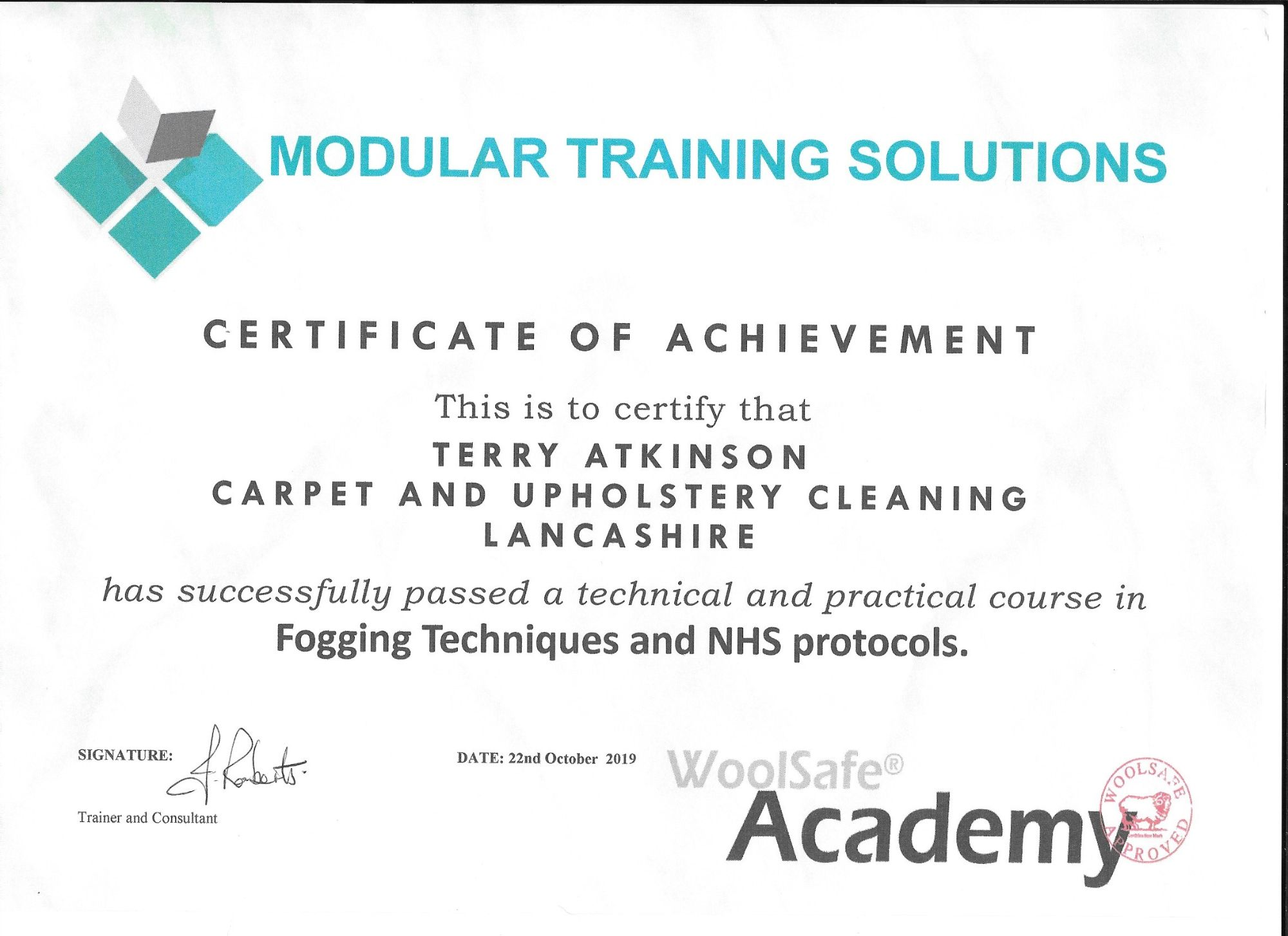 Fogging & NHS certification certificate Carpet & Upholstery Cleaning Lancashire