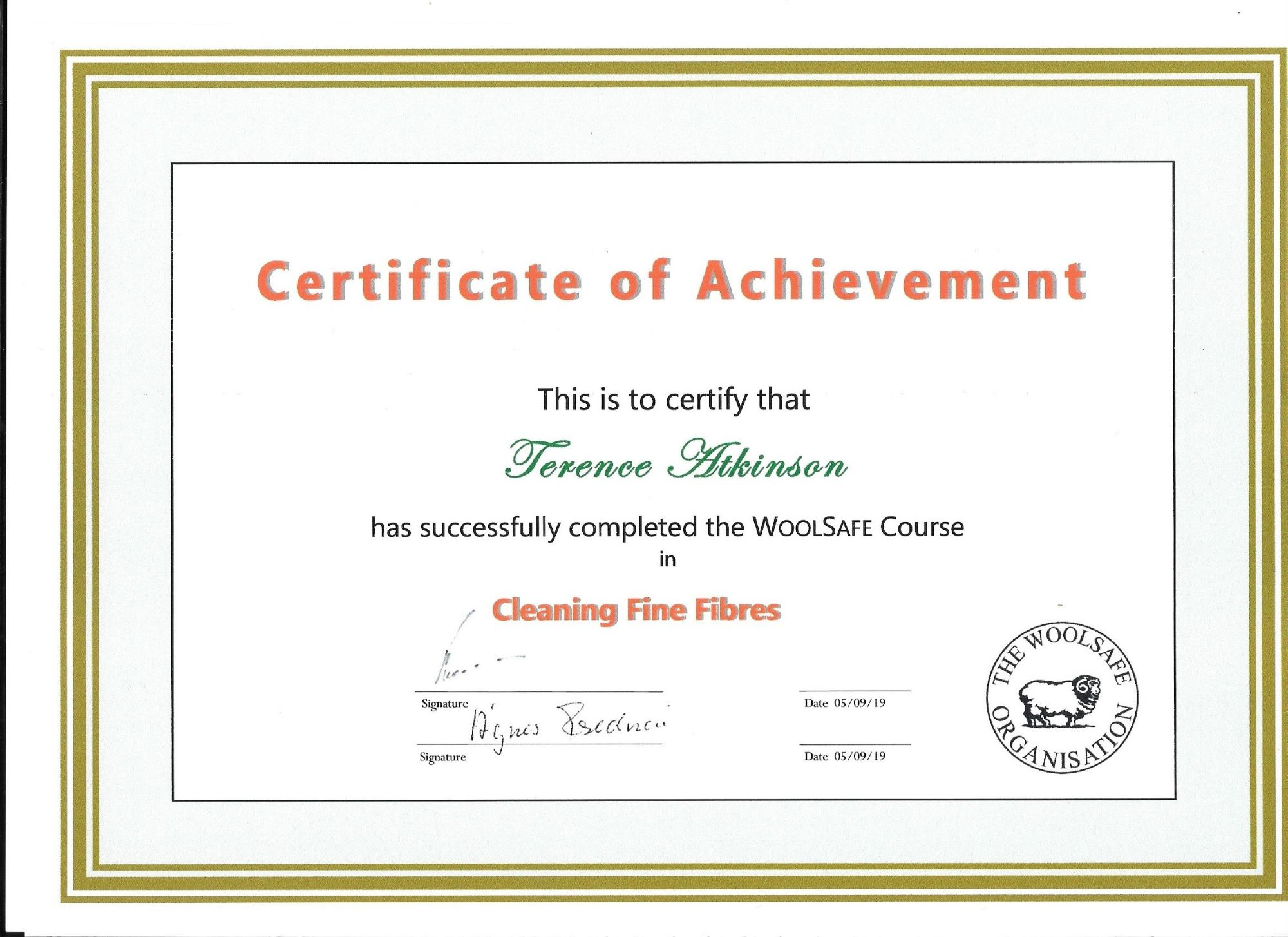 Woolsafe Cleaning Fine Fibres certification Carpet & Upholstery Cleaning Lancashire