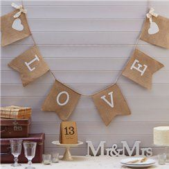 Hessian 'Love' Wedding Bunting - 2 m