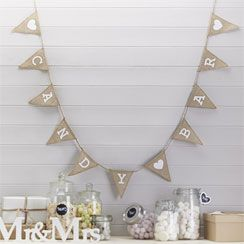 A Vintage Affair Hessian 'Candy Buffet' Wedding Bunting - 1.5m
