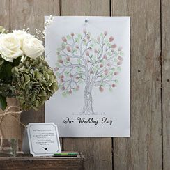 Wedding Fingerprint Tree Brown/Green