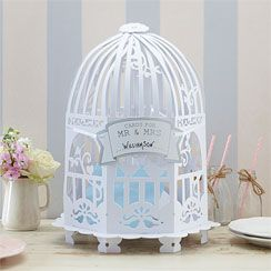 Vintage Lace Birdcage Wedding Card Holder - White or Ivory