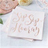 'Sip Sip Hooray' Paper Napkins - 33cm