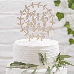 Wooden 'Mr & Mrs' Cake Topper