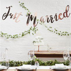 'Just Married' Rose Gold Bunting - 1.5m