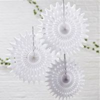 White Tissue Fan Decorations
