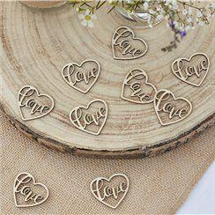 Wooden Heart Love Confetti - 24pcs