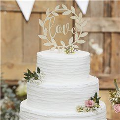 Rustic Country Wooden Love Cake Topper - 14cm