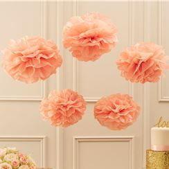 Pastel Perfection Pink or Gold Metallic Pom Pom Decorations - 33cm