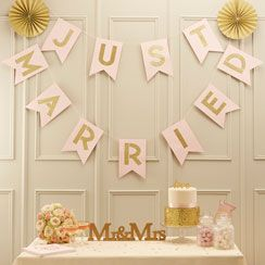 Pastel Perfection 'Just Married' Wedding Bunting - 3.5m