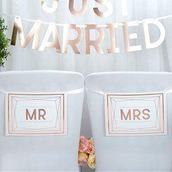 Geo Blush 'Mr & Mrs' Wedding Chair Bunting