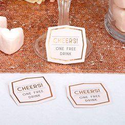 Geo Blush Wedding Drink Tokens