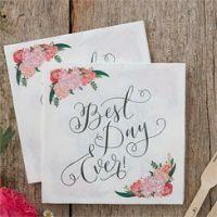 Boho Wedding 'Best Day Ever' Napkins