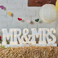 Boho Wedding Mr & Mrs Wooden Light - 50cm