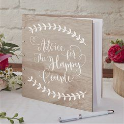 Boho Wooden Newlyweds Advice Book