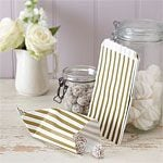 Vintage Lace Gold, Pink or Blue  Stripe Candy Bags - 19.5cm