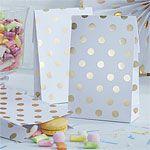 Pick & Mix White Metallic Polka Dot Paper Party Bags - 19cm