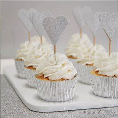 Metallic Perfection Heart Cupcake Picks - 10.5cm