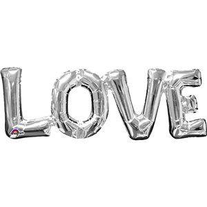"""Love Silver Foil Phrase Balloon - 25"""""""