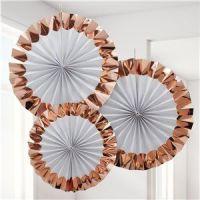 White & Rose Gold Paper Fan Decorations - 38cm