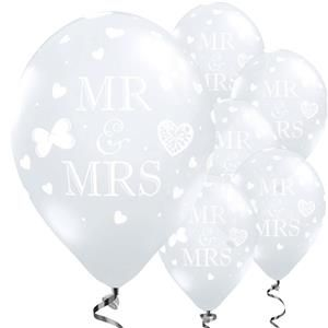 Mr and Mrs Diamond Clear Wedding Balloons - 11'' Latex - 50 pk