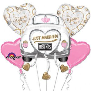 Just Married Balloon Wedding Bouquet - Assorted Foil