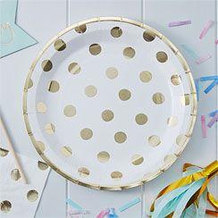 Pick & Mix White Metallic Polka Dot Plates - 23cm Paper Party Plates