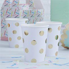Pick & Mix White Metallic Polka Dot Cups - 255ml Paper Party Cups