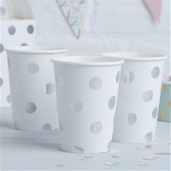 Pick & Mix Silver Polka Dot Cups - 255ml Paper Party Cups