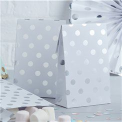 New ProductPick & Mix Silver Polka Dot Paper Party Bags - 19cm