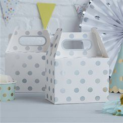 Pick & Mix Silver Polka Dot Party Boxes - 20cm