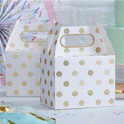 Pick & Mix White Metallic Polka Dot Party Boxes - 20cm