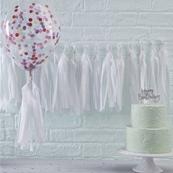 Pick & Mix White Tissue Tassel Garland Kit - 1.5m
