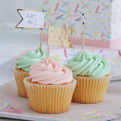 Pick & Mix Metallic Polka Dot Cupcake Picks - 10cm