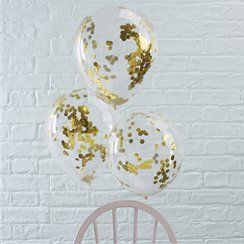 "Pick & Mix Gold, Pink or Silver Confetti Balloons - 12"" Latex"